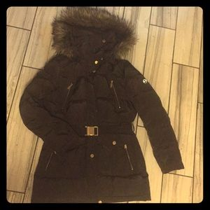 Michael kors winter puffer coat with belt